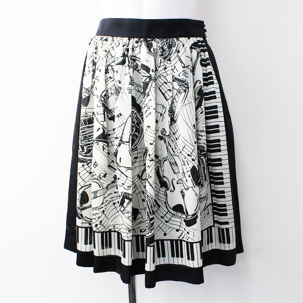 Lois CRAYON ロイスクレヨン メロディ プリント フレア スカート M/ブラック×ホワイト ボトムス【2400011815712】