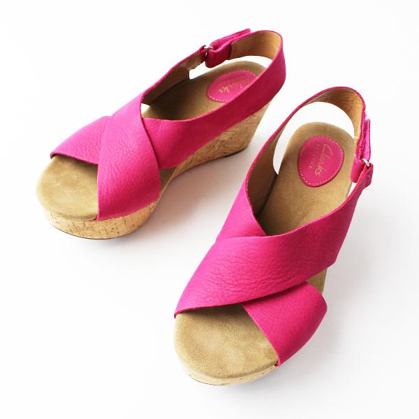 Clarks クラークス Caslynn Shae キャスリンシー コルクソール サンダル 24.5/ピンク 靴 くつ ウェッジソール【2400011815897】