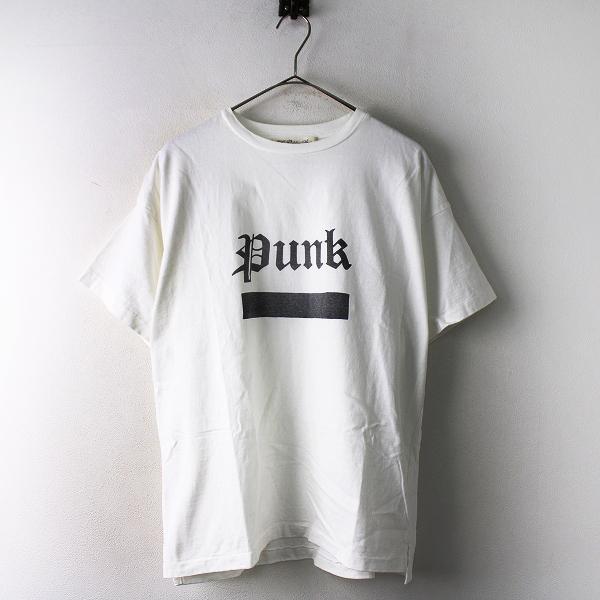 【期間限定30%OFF】REMI RELIEF レミレリーフ punk プリント コットン クルーネック Tシャツ S/ホワイト メンズ【2400011816306】