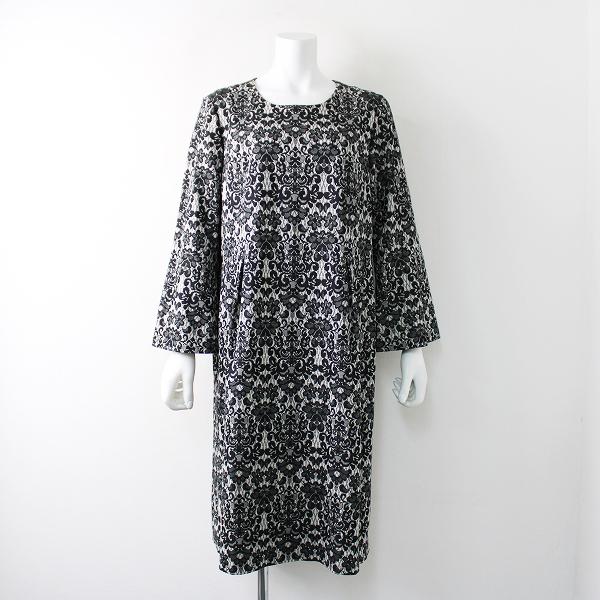 美品 大きいサイズ LEILIAN レリアン モノトーンフラワーレースジャガードワンピース15号/ドレス 【2400011816788】
