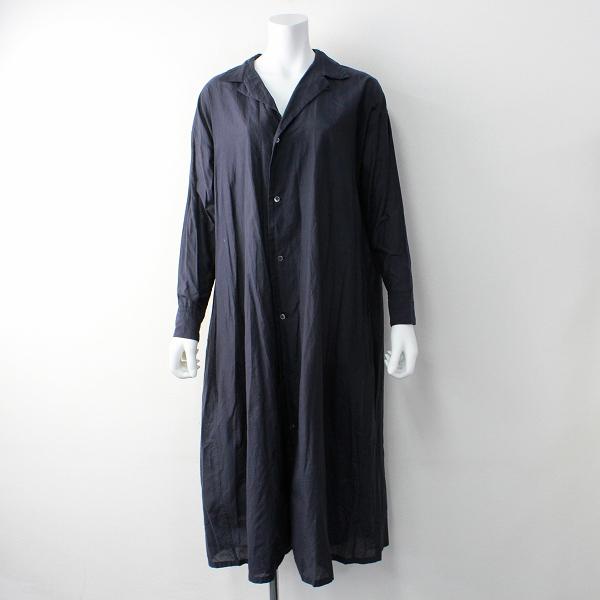 R&D.M.Co- オールドマンズテーラー コットン シルク フレア シャツ ドレス/ネイビー ワンピース ロング【2400011817662】