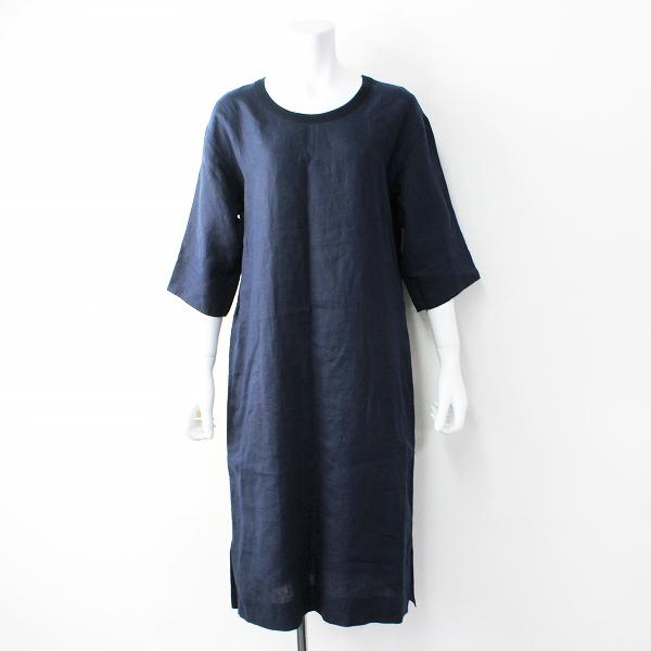 定価4.6万 MARGARET HOWELL マーガレットハウエル SHIRTING LINEN リネン Tシャツ ワンピース 1/ネイビー【2400011818508】