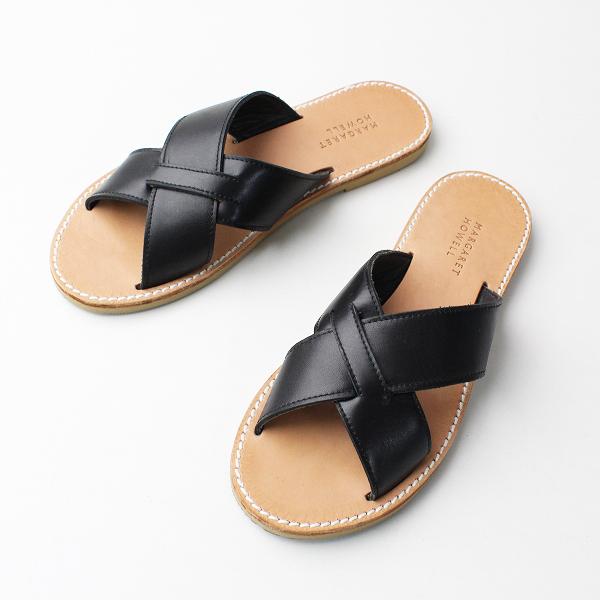 美品 MARGARET HOWELL マーガレットハウエル レザー クロス サンダル L/ブラック 靴 フラット【2400011818591】