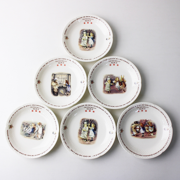 美品 ヴィンテージ THE MACMILLAN ALICE マクミラン 不思議の国のアリス プレート 6枚セット/お皿【2400011818607】