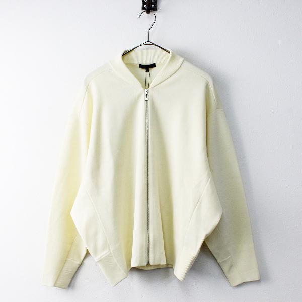 未使用品 定価2.9万 オンワード ICB アイシービー Compact Wool Ester ニットブルゾン L/アイボリー【2400011818706】