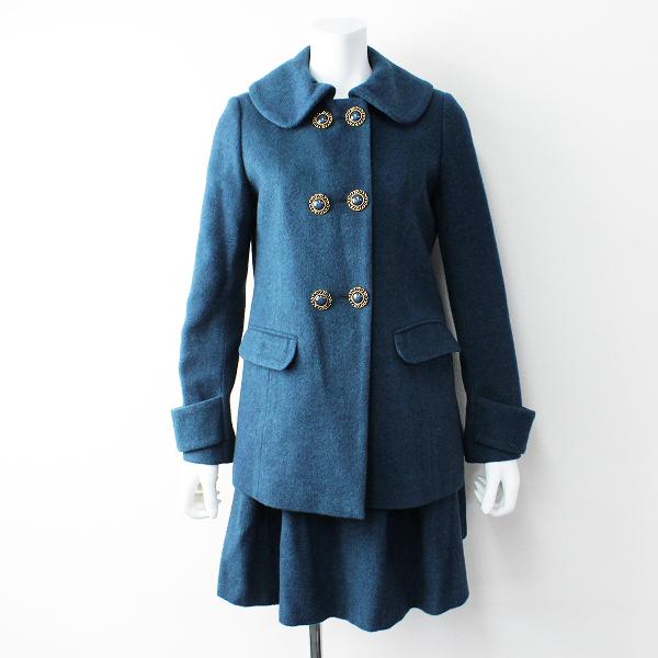 美品 Lois CRAYON ロイスクレヨン プレスウール オリジナルボタン セットアップM/ジャケット スカート【2400011818874】