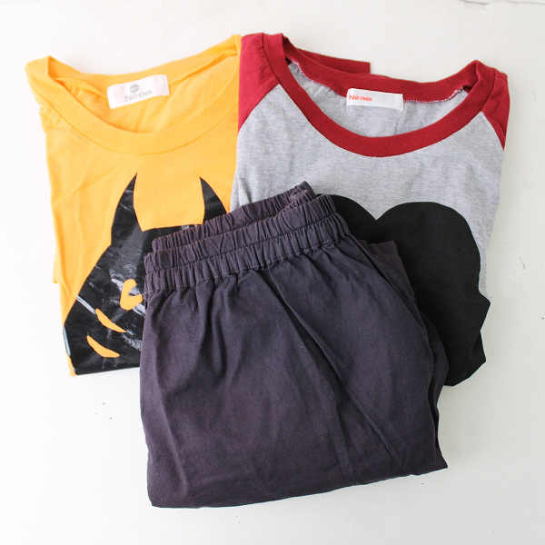 Ne-net ネネット ショートパンツ Tシャツ 3点セット /オレンジ グレー チャコールグレー まとめ売り【2400011819734】