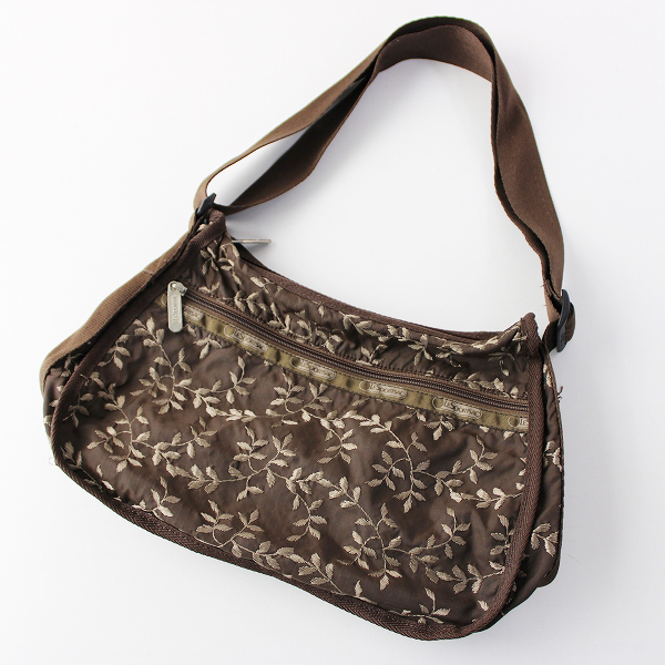 LeSportsac レスポートサック リーフ 刺繍 ショルダー バッグ/ブラウン 小物 鞄【2400011821317】