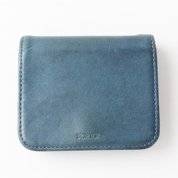 PORTER ポーター レザー 2つ折り財布/ネイビー インディゴ コンパクト ウォレット ミニ財布【2400011821515】