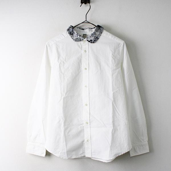 wash wash ウォッシュウォッシュ コットン 刺繍カラー グラフチェックシャツ F/ホワイト フラワー ブラウス トップス 【2400011821829】