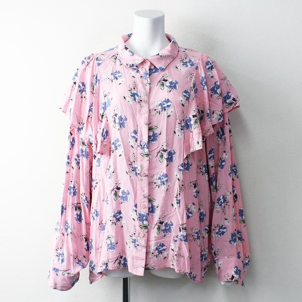 大きいサイズ PUNYUS プニュズ 花柄フリル袖シャツ 4/ピンク ブラウス カットソー 渡辺直美 トップス【2400011822222】