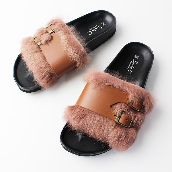 【期間限定30%OFF】未使用品 Sonia C ソニアシー ファー ベルト サンダル 36/ピンク系 クツ 靴 シューズ 【2400011823120】