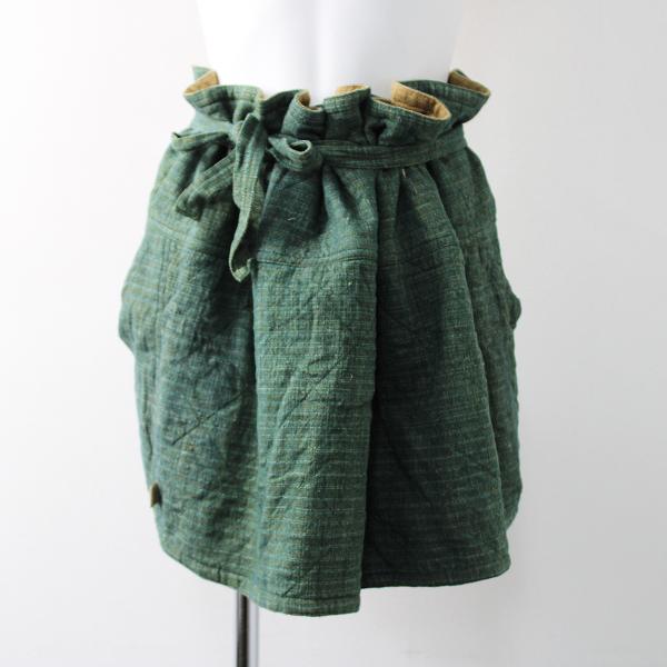 USAATO うさと 手織り 天然草木染め ポケット付き 前掛けエプロンスカート/グリーン【2400011824899】