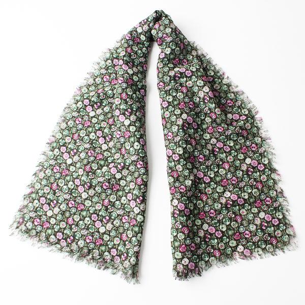 美品 R&D.M.Co- オールドマンズテーラー パンジー ストール /ブラウン フリンジ ショール スカーフ【2400011825872】