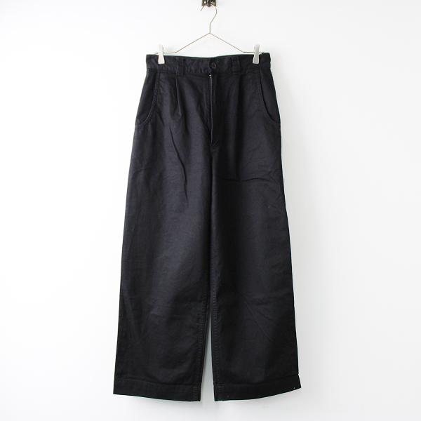 2019SS MARGARET HOWELL MHL. マーガレットハウエル コットンリネン JAPANESE COTTON LINEN DRILL パンツ 3/ブラック【2400011826381】