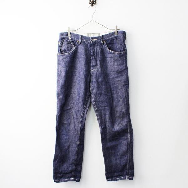 メンズ Vlas Blomme ヴラスブラム リネン ワイド デニムパンツ H2/インディゴ 藍染め ボタンフライ ボトムス【2400011827333】