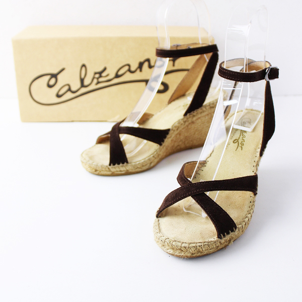 Calzanor カルザノール アンクルストラップ ジュート サンダル 36/23-23.5cm ダークブラウン 靴 ウェッジソール【2400011828088】