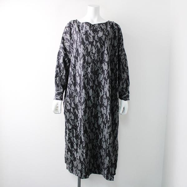 大きいサイズ フェリシモ SunnyClouds サニークラウズ コットン ペンギンのドレス LL/グレー ワンピース【2400011829856】