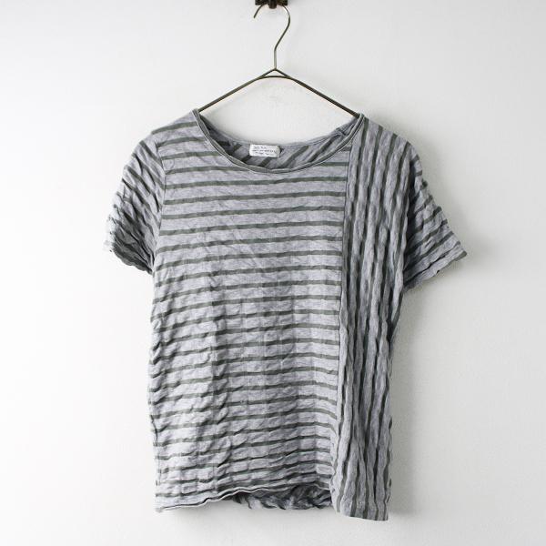 Sally Scott サリースコット コットン ボーダー Tシャツ M/グレー トップス 半袖【2400011830074】