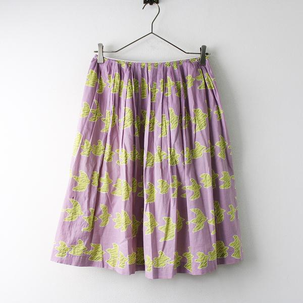 Sally Scott サリースコット コットン シルク 鳥 プリント ギャザー スカート 7/ピンク ボトムス【2400011830104】