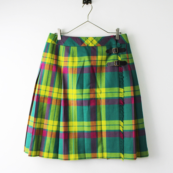 未使用品 大きいサイズ NEWYORKER ニューヨーカー ウール チェック 巻きスカート 15/グリーン ボトムス【2400011830340】