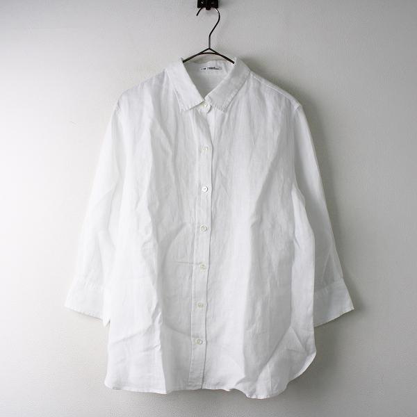 大きいサイズ オンワード 23区 ニジュウサンク 洗える LIBECO 7分袖リネンシャツ 46/ホワイト トップス【2400011830388】