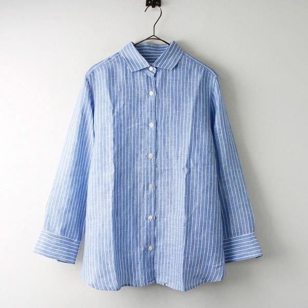 美品 定価1.8万 大きいサイズ オンワード 23区 ニジュウサンク LIBECO ストライプシャツ 44/ブルー トップス【2400011830425】