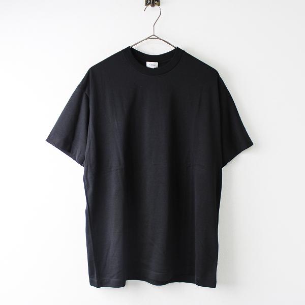 新品 定番 定価2.5万 BLAMINK ブラミンク コットンクルーネック 刺繍ショートスリーブ Tシャツ 1/ブラック トップス【2400011830616】