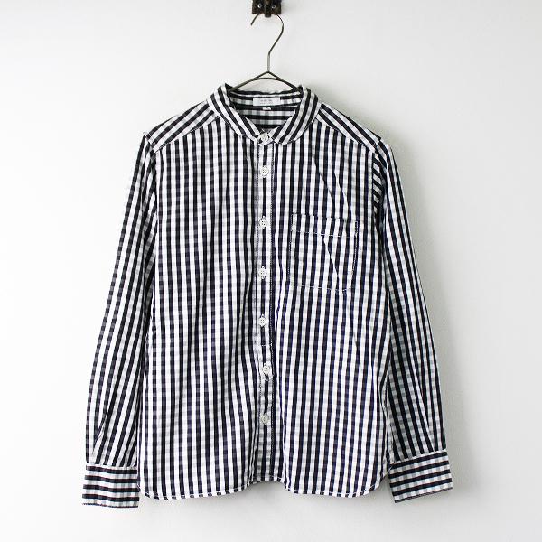 休日と詩 コットン ギンガムチェック 丸襟 長袖シャツ 2/ブラウス トップス 【2400011832382】