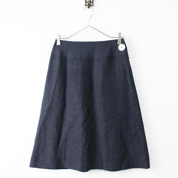 Sally Scott サリースコット リネン サイド シェルボタン スカート 9/ブラック フレア 膝丈 ボトムス【2400011832658】