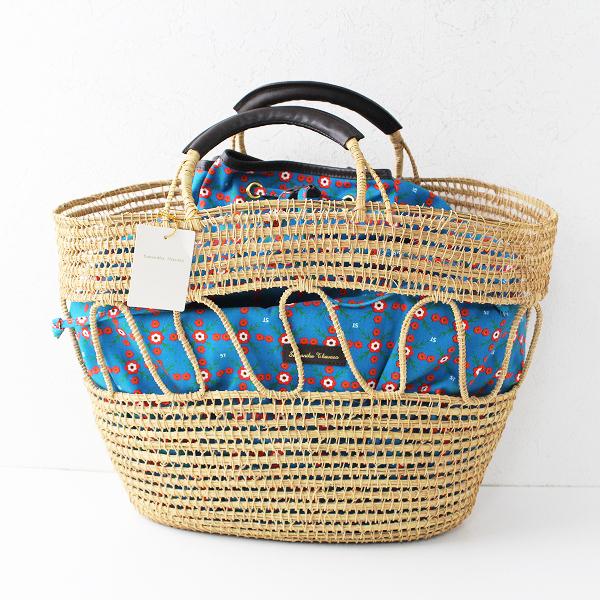 未使用 定価2.6万 Samantha Thavasa サマンサタバサ かご編み巾着バッグ/ベージュ ブルー パームファイバー 【2400011832863】
