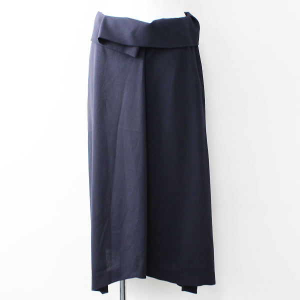 美品 2018SS ENFOLD エンフォルド ウール アシンメトリー スカート 36/ネイビー ベルト【2400011833839】