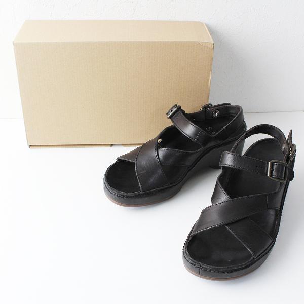 SAYA サヤ レザー クロス ストラップ 厚底 サンダル L/ブラック 靴 シューズ 【2400011836700】