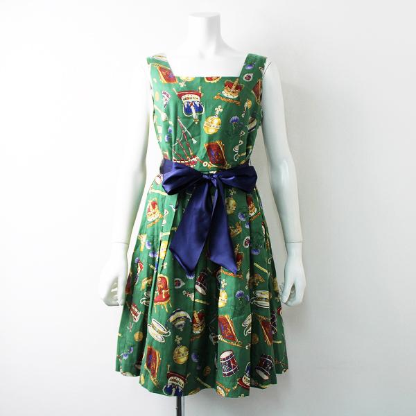 美品 定価4.2万 Jane Marple ジェーンマープル ロイヤルワラントのスクエアドレス/グリーン ワンピース 【2400011836908】