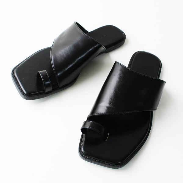 美品 SENSE OF PLACE センスオブプレイス フラット トング サンダル L/ブラック 靴 くつ【2400011837134】