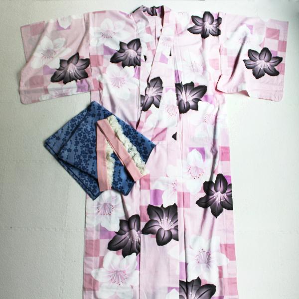 【サマーセール】難あり Lois CRAYON ロイスクレヨン 花柄 プリント 浴衣 M/ピンク フラワー 和装【2400011846921】