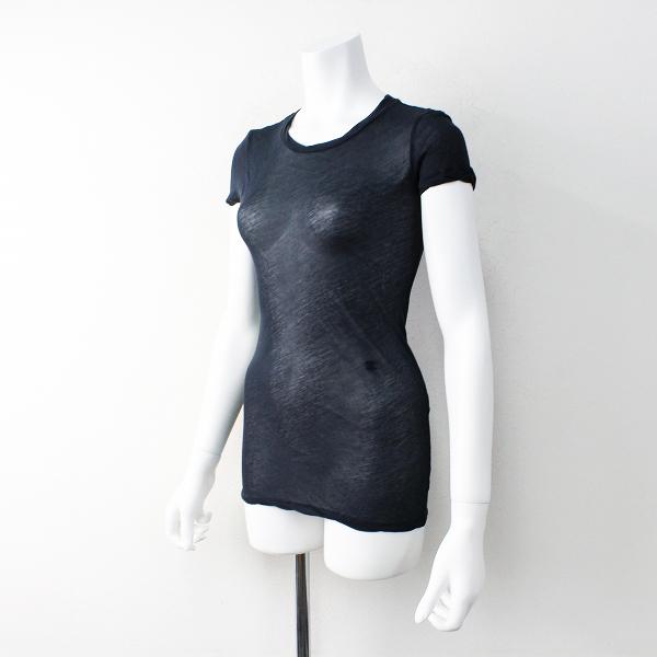 CELINE セリーヌ マカダムロゴ 刺繍 コットン シースルー カットソー XS/ネイビー トップス フレンチスリーブ【2400011847423】