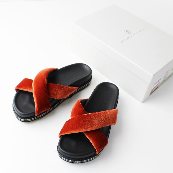 美品 BRUNELLO CUCINELLI ブルネロクチネリ MZ74G1144 ビーズ ベロア クロス サンダル 37/オレンジ系 靴 シューズ【2400011847447】