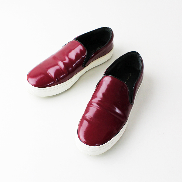 CELINE セリーヌ SKATE SLIP-ON スケート エナメルレザー スリッポン 39/ シューズ 靴 ワインレッド【2400011847454】