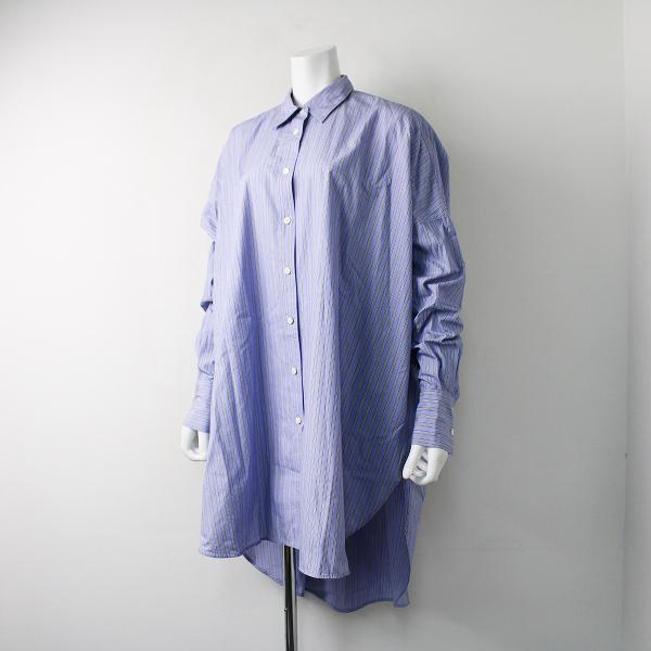 美品 2019SS 定価2.3万 Curensology カレンソロジー コットン 2wayワイドシャツ F/ブルー ストライプ ロング スリット【2400011847522】-.