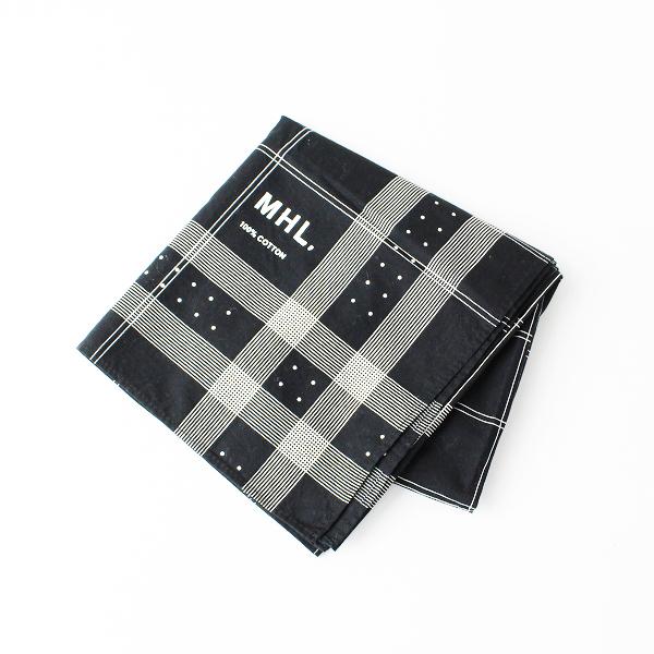 MHL MARGARET HOWELL マーガレットハウエル チェック ドットプリントコットンスカーフ/ブラック【2400011849038】