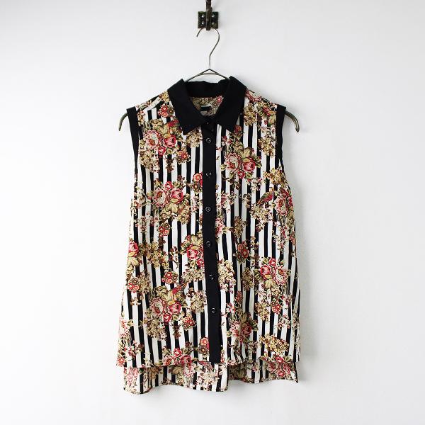 美品 Lois CRAYON ロイスクレヨン ストライプフラワーノースリーブシャツM/トップス ブラウス 花柄 モノトーン 【2400011854636】