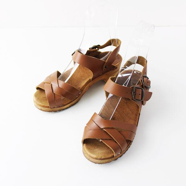EXPERT エキスパート クロスレザー サンダル 36/ブラウン 靴 ローヒール【2400011856746】