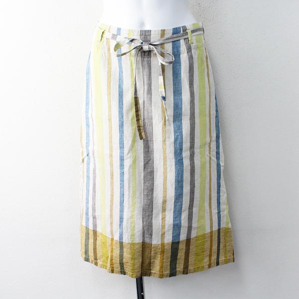 Pal'las Palace パラスパレス リネン ランダムストライプ ラップ スカート 0/キナリ ボトムス カラフル 【2400011857767】