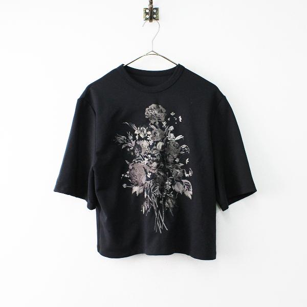 2017AW 定価1.7万 Lois CRAYON ロイスクレヨン ブーケシシュウTシャツ M/ブラック 刺繍 フラワー トップス【2400011857828】