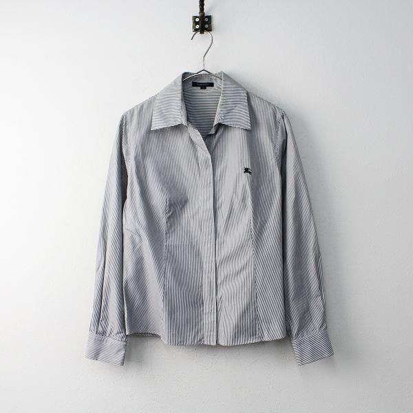 BURBERRY LONDON バーバリーロンドン コットン ストライプ 胸元ホース刺繍 シャツ 40/トップス【2400011858337】