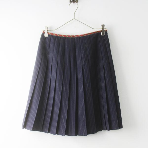 Lois CRAYON ロイスクレヨン ピンストライプ プリーツスカート M/ネイビー ボトムス【2400011858917】