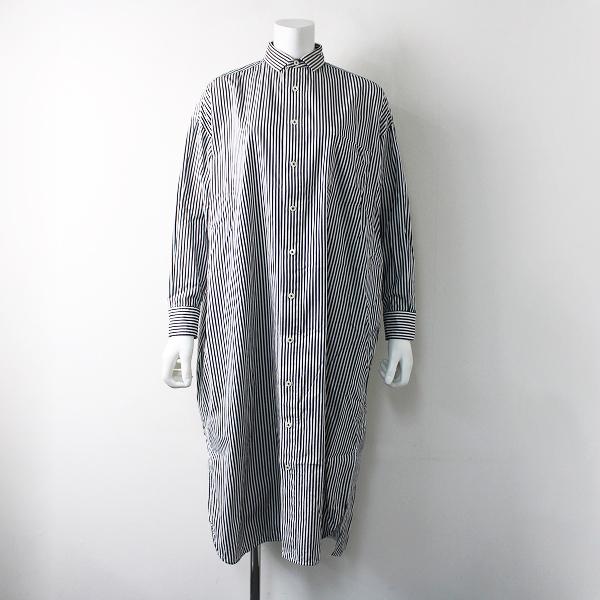 美品 定価2.9万 TICCA ティッカ TAIS-034 スクエアビッグロングシャツ F/ブラック ホワイト ロンドンストライプ【2400011859082】