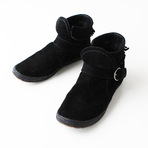 UGG australia アグ オーストラリア スウェード フリンジ ベルト ショート ブーツ 24.0/ブラック シューズ【2400011862174】