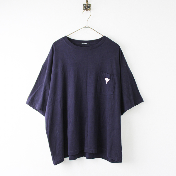 GUESS ゲス コットン 胸ポケット ワンポイント ロゴ Tシャツ L/ネイビー トップス ワイド メンズ【2400011863850】